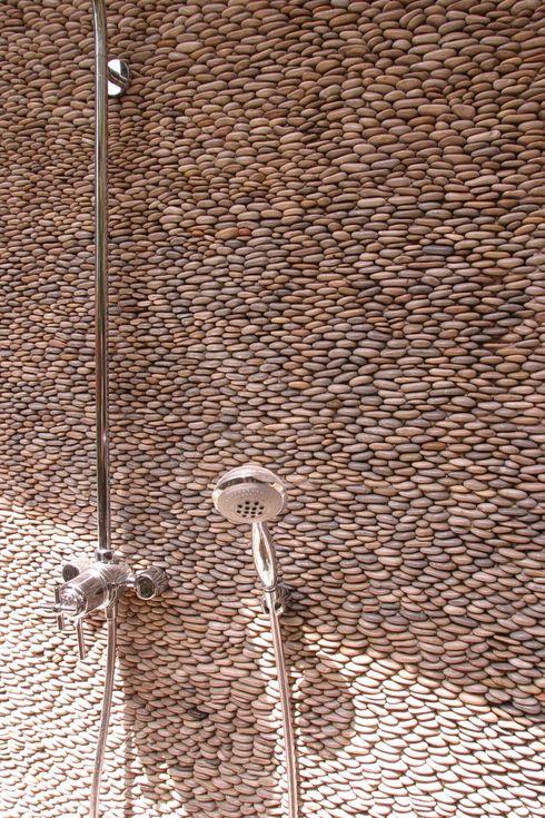 Outdoor Shower Pebble Tile Back Java Tan Standing Pebble Tile Pebble Mosaic Pebble Tile Pebble Mosaic Tile