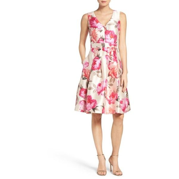 Women's Eliza J Floral Mikado Fit & Flare Dress (7,350 PHP) ❤ liked on Polyvore featuring dresses, v neck fit and flare dress, sleeveless fit and flare dress, white sleeveless dress, white fit-and-flare dresses and floral fit-and-flare dresses