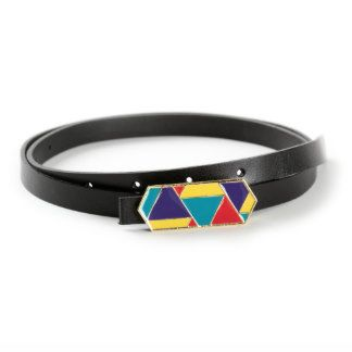 Rainbow Enamel Buckle with Black Genuine Italian Leather Skinny Belt
