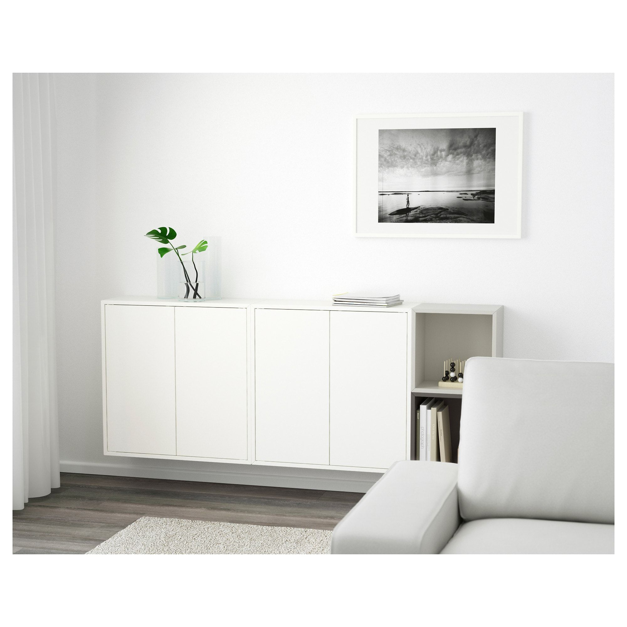 Eket Wall Mounted Cabinet Combination White Dark Gray Light Gray Learn More Ikea Ikea Wall Cabinets Ikea Wall Storage Wall Mounted Cabinet