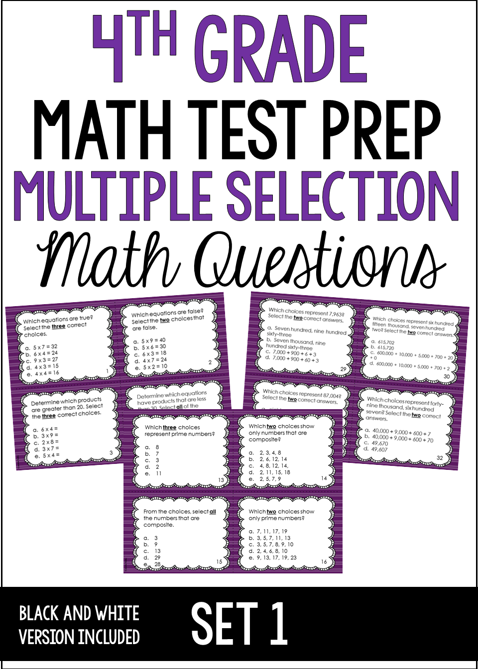 4th Grade Math Test Prep: Multiple Select Questions (Set 1) | Math ...