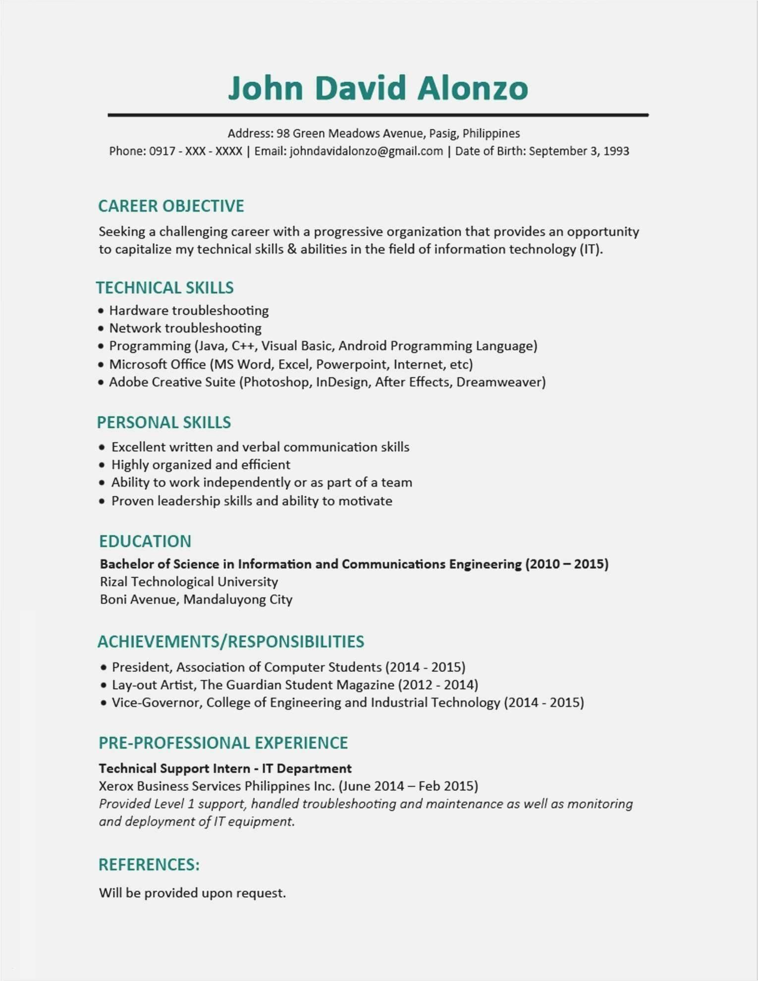 Good Personal Statement Examples Resume Objective Examples Resume Skills Resume Examples