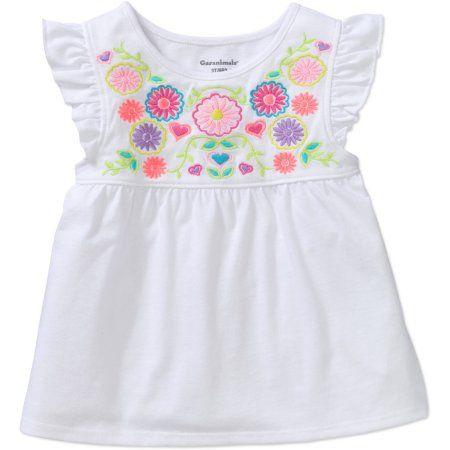3c8af215610d Garanimals Toddler Girls  Short Sleeve Embroidered Flutter Tee ...