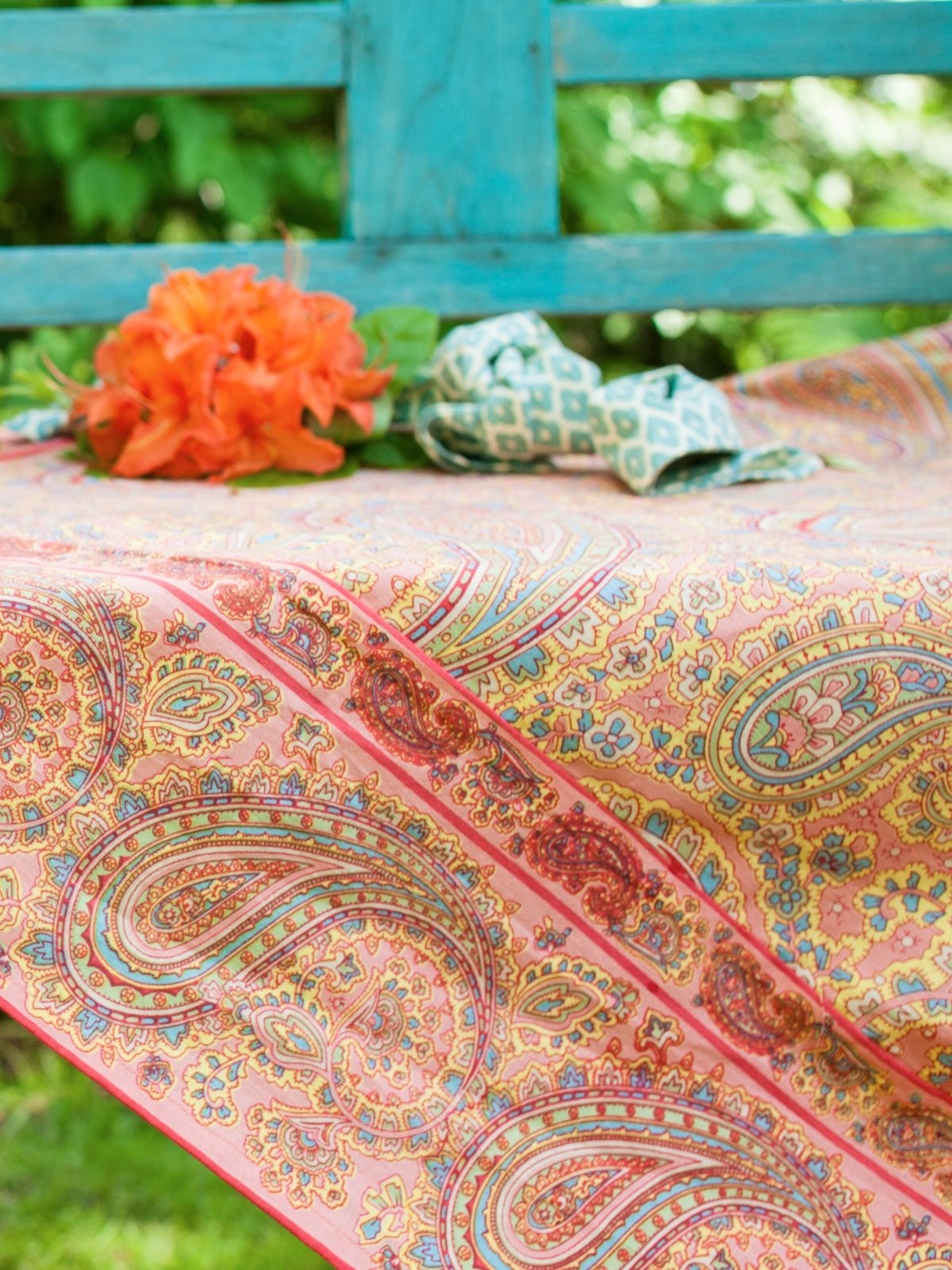 Patient Paisley Tablecloth   Coral | Table Linens U0026 Kitchen, Tablecloths  :Beautiful Designs By