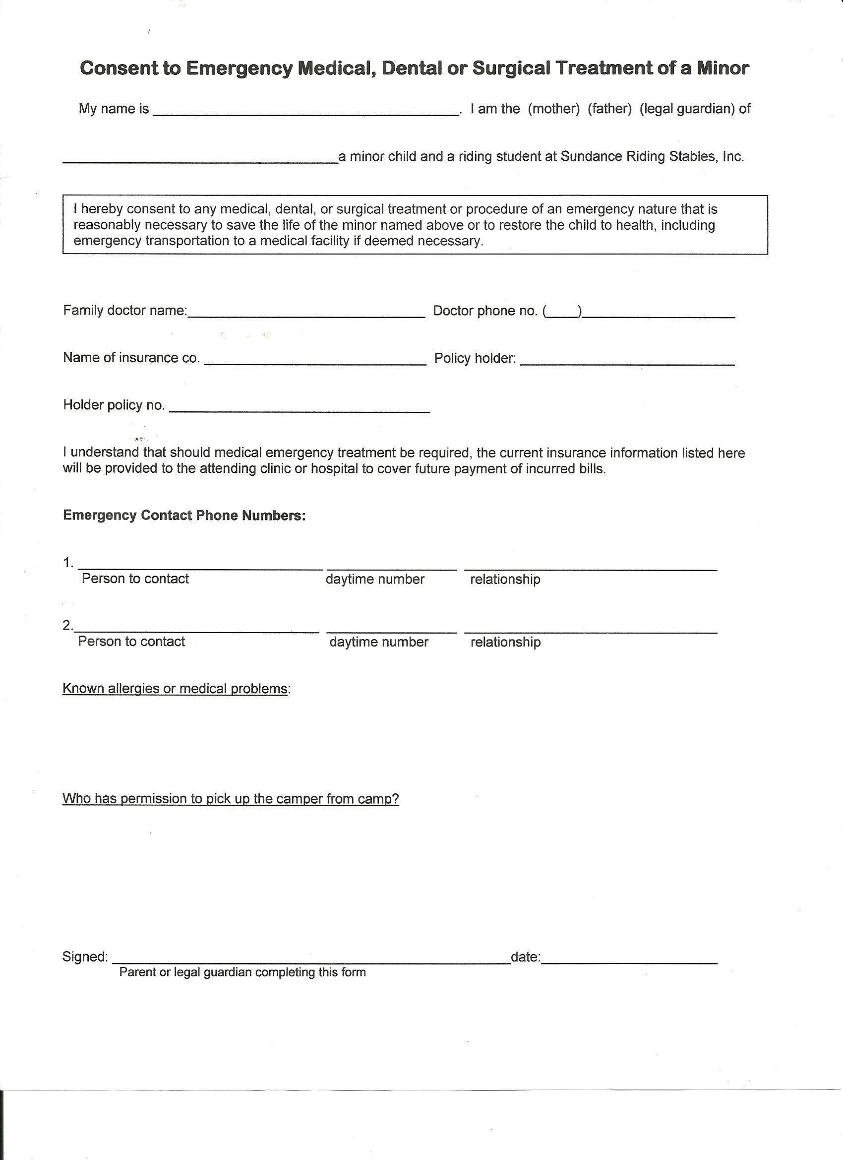 Printable Sample Liability Form Form