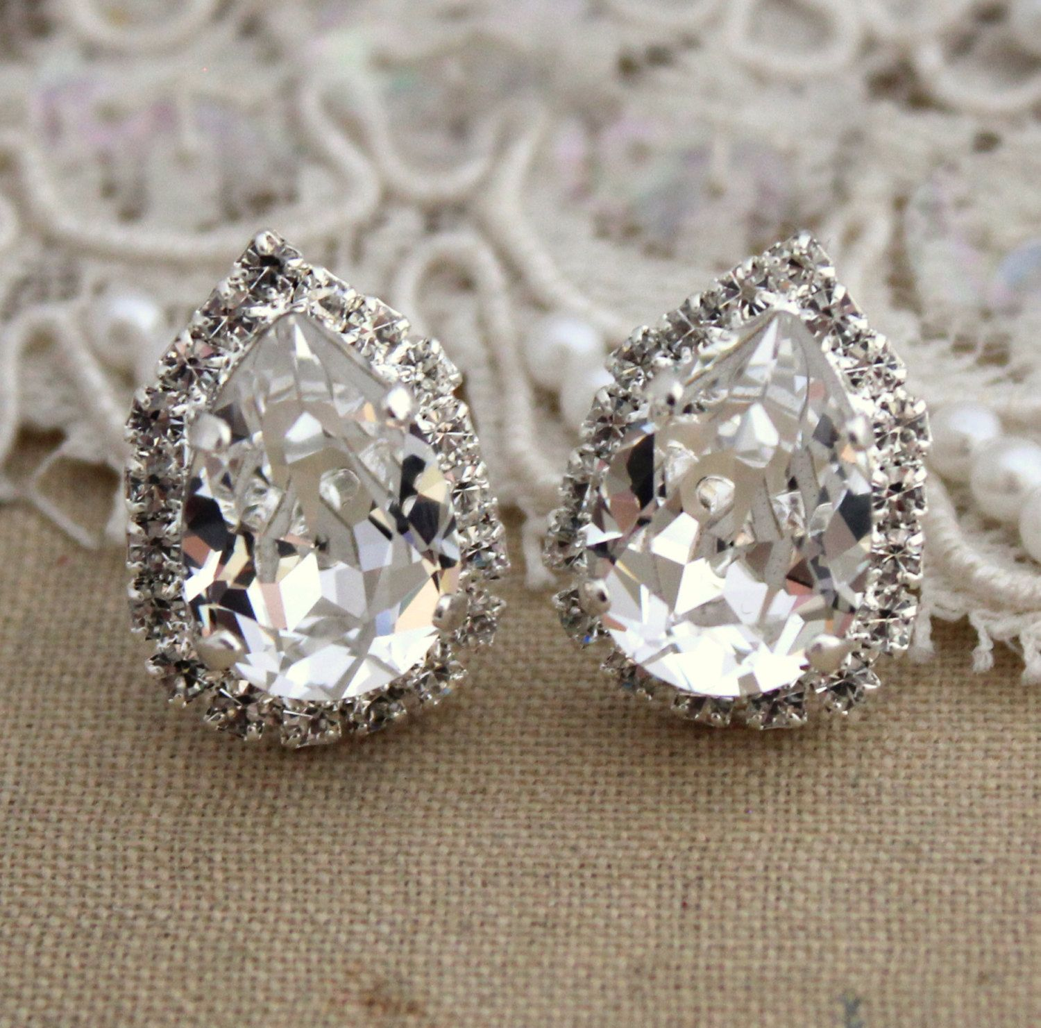 Elegant Crystal Solitaires Earrings.Bridesmaid gift wedding jewelry 14k gold fill or all  silver Bridal Earrings mothers day gift
