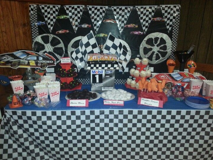 Dessert Table For Race Car Baby Shower Funnels Are Used