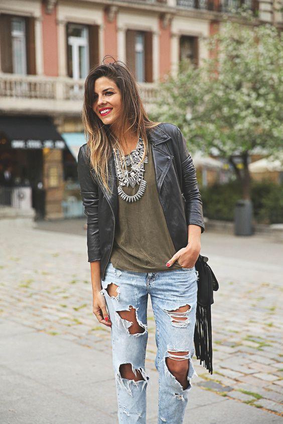 Outfits Con Jeans Rotos Moda Ropa Moda Para Mujer