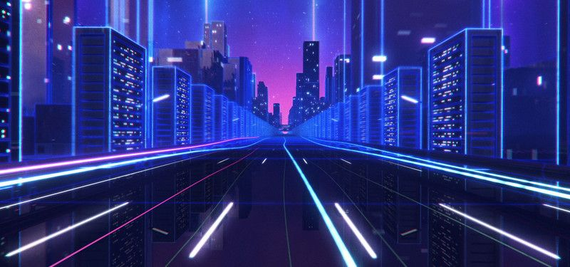Neon Aesthetic Background Landscape