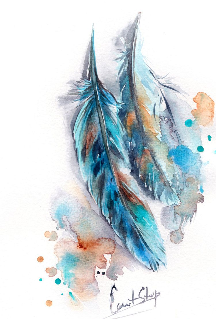 Feathers Original Watercolor Painting Turquoise By Canotstop Mit