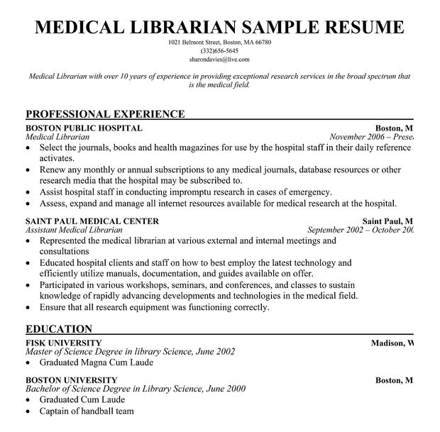 sample medical librarian resume - Canasbergdorfbib