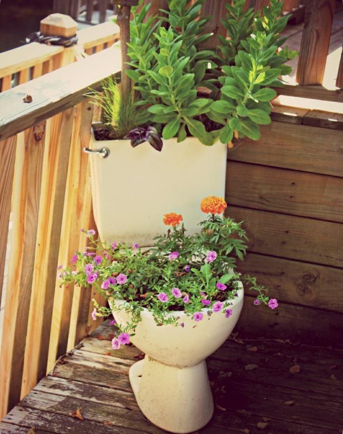 Ideal Dieser Blumentopf aus einer Toilette ist eher etwas f r mutige