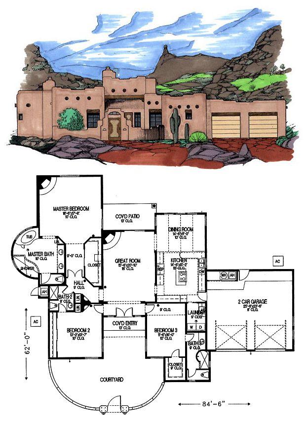 Santafe Houseplan 54618 Has 2322 Square Feet Of Living