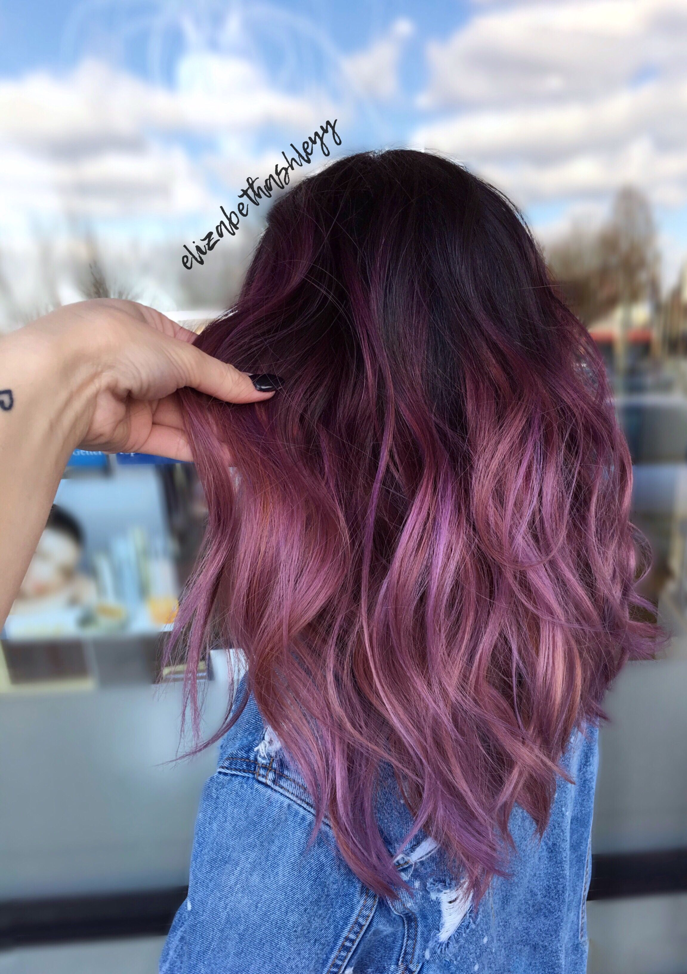 Picture of black and magenta balayage hair - Balayage Black To Magenta Ombr