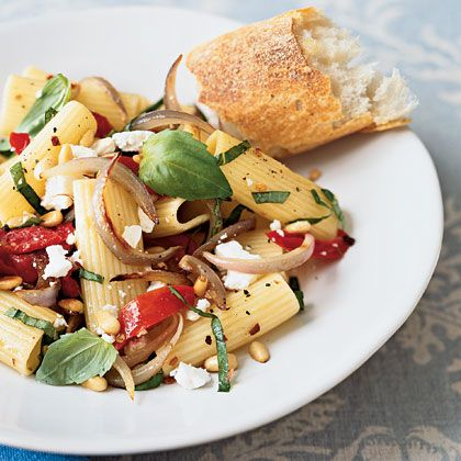 Rustic Rigatoni - w/ sundried tomatoes, feta, pine nuts & basil  Note:  could easily add cooked chicken or sausage for a delish one dish main meal!!!
