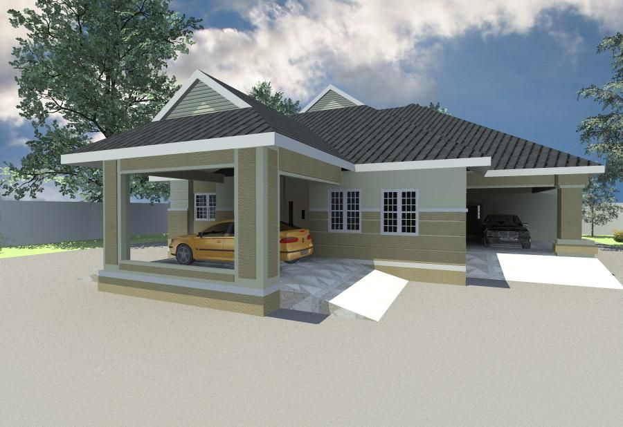 4 bedroom bungalow 5 likes re architectural designs for Four bedroom bungalow plan