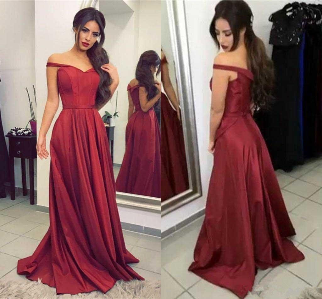 Sexy vneck long satin offtheshoulder prom dresses dresses