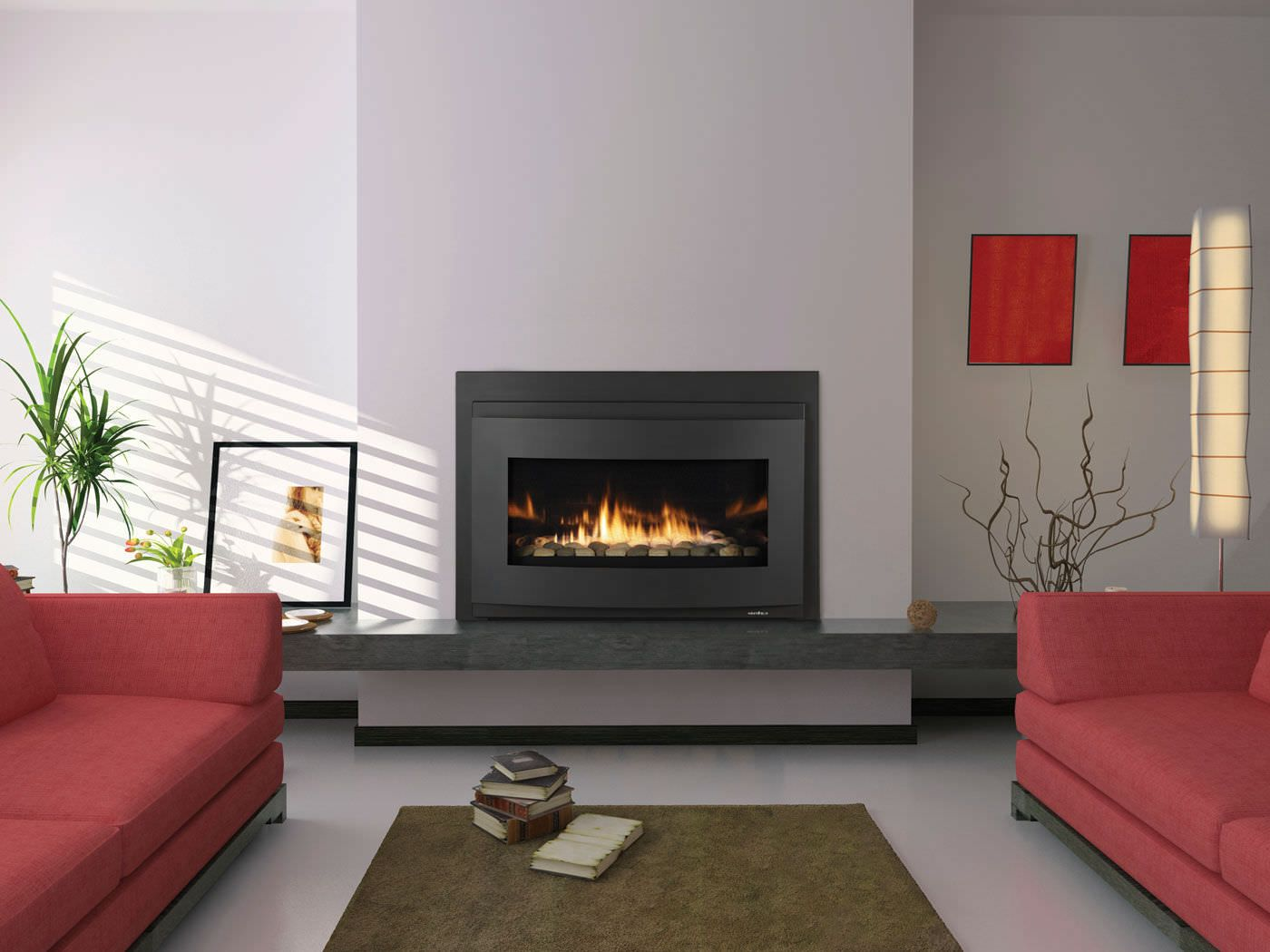 Amazing Living Room Design Have Gas Fireplace Repair Front Red Sectional Sofa Around White Stained Wall Design White