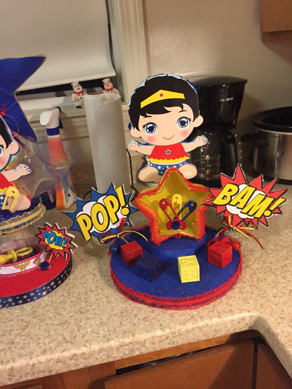 Baby shower centerpiece for Wonder Woman baby shower