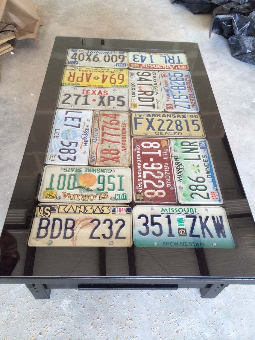Recycled coffee table and old car tags | Things Bo and I have made ...