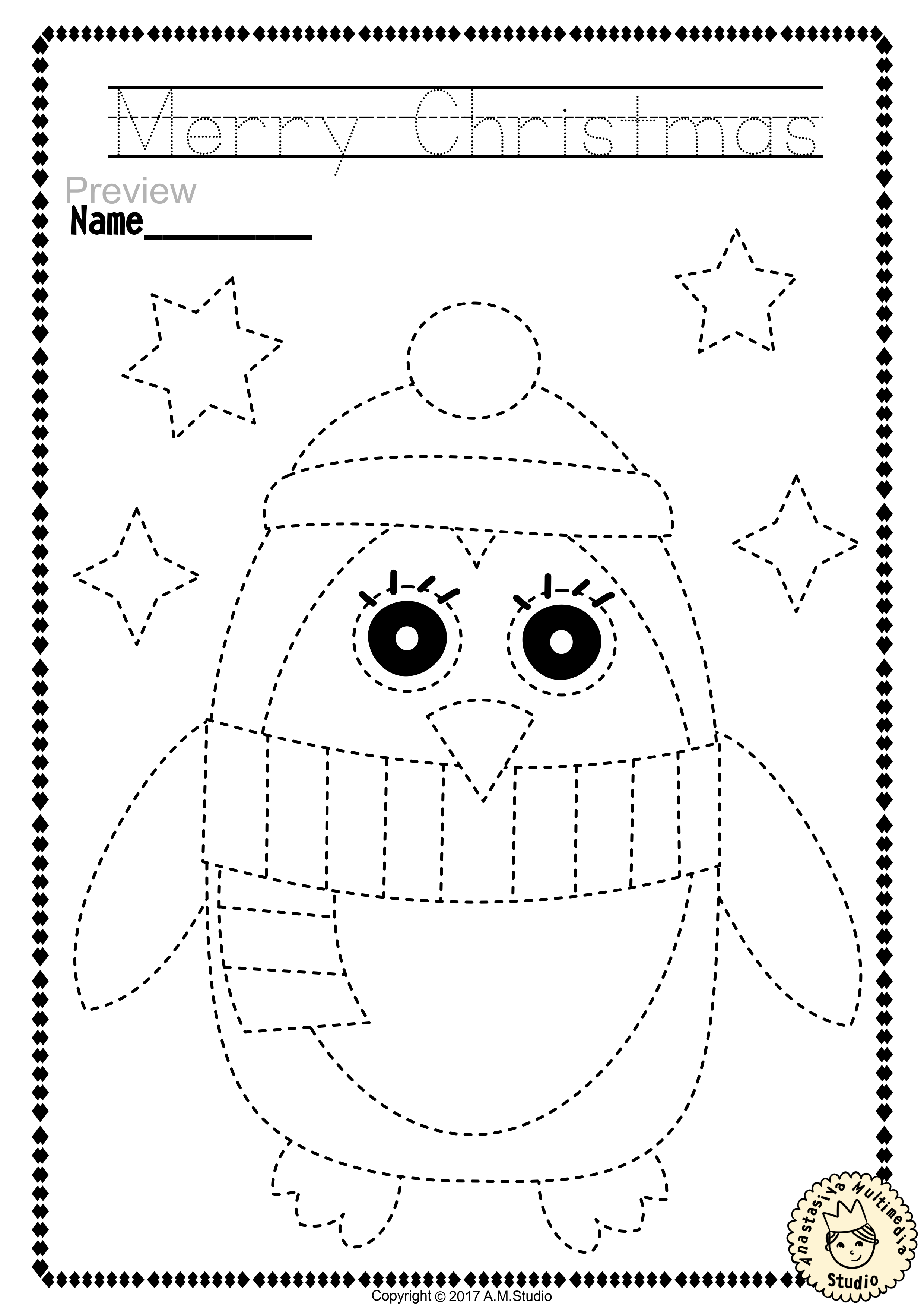 worksheet Tracing And Colouring Worksheets christmas trace and color pages fine motor skills pre writing help your child develop their with special education activitiesco