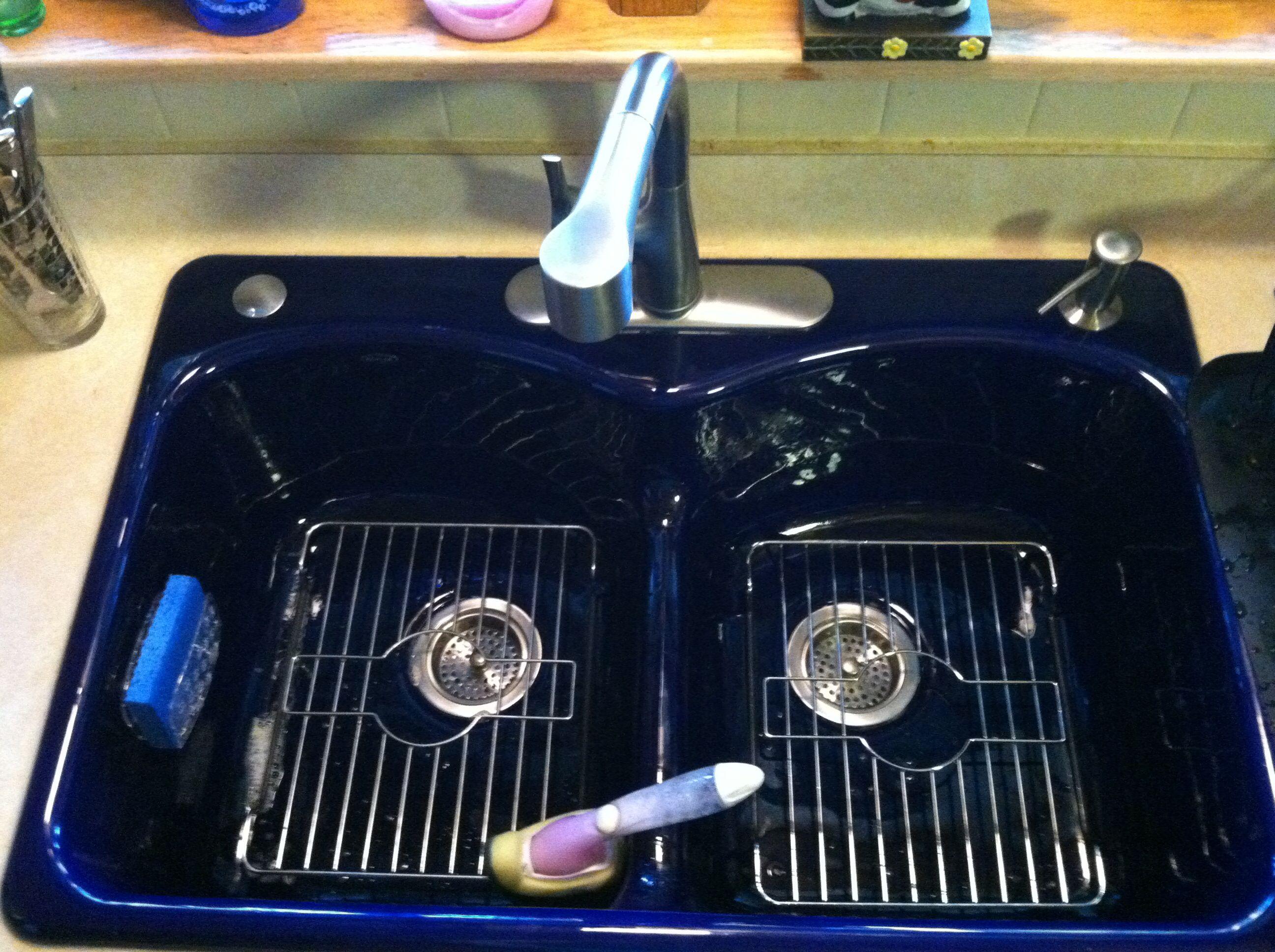 kohler cobalt blue kitchen sink! love the racks inside toothey