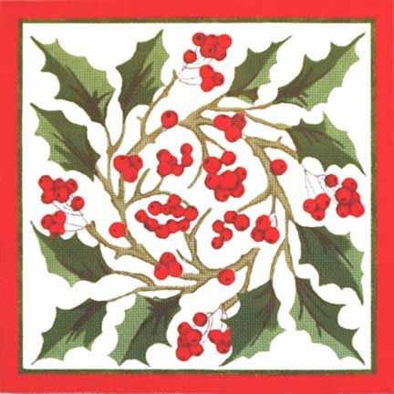 Melissa Shirley Designs | Hand Painted Needlepoint | Holly Berries