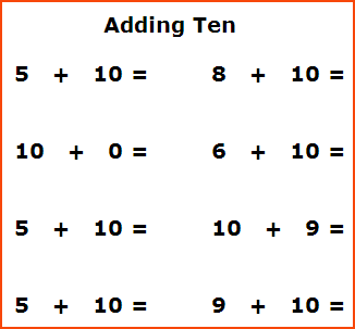 Free first grade math worksheets,adding ten horizontal worksheets ...