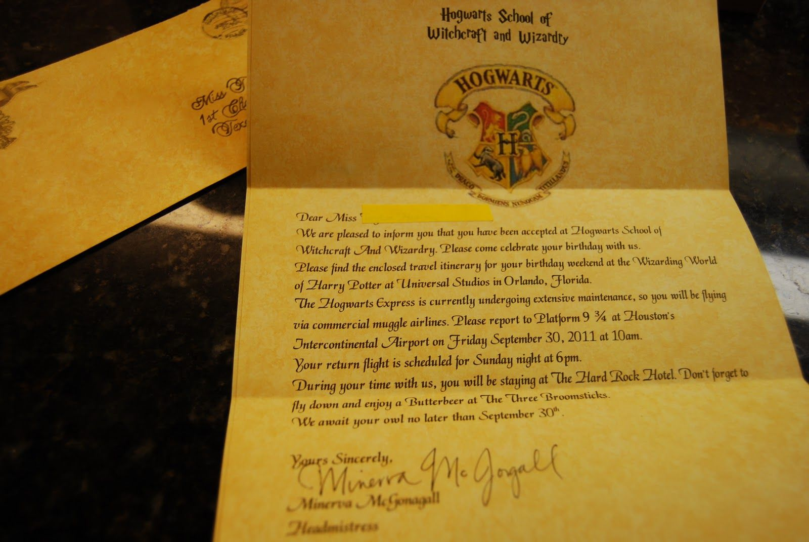 HARRY POTTER ACCEPTANCE HOGWARTS LETTER CUSTOMIZED in every language