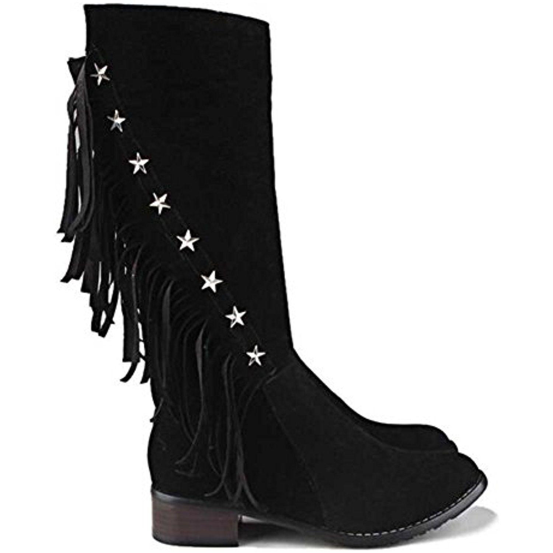 Women's Stylish Waterproof Faux Fur Lined Fringe Studded Zipper Mid Calf Low Heel Winter Snow Boots