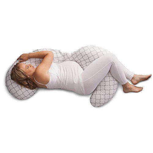 Boppy Slipcovered Total Body Pregnancy Pillow Gray//White