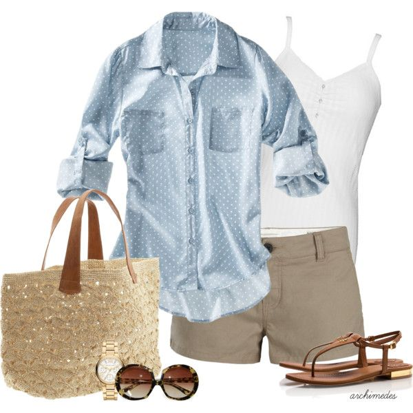 A fashion look from April 2013 featuring chambray shirt, white shirt y short shorts. Browse and shop related looks.
