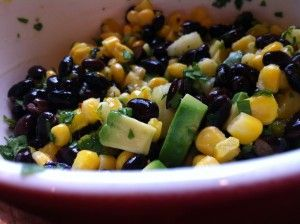 Black bean and mango salsa!  So good on top of grilled chicken for summer BBQ's!