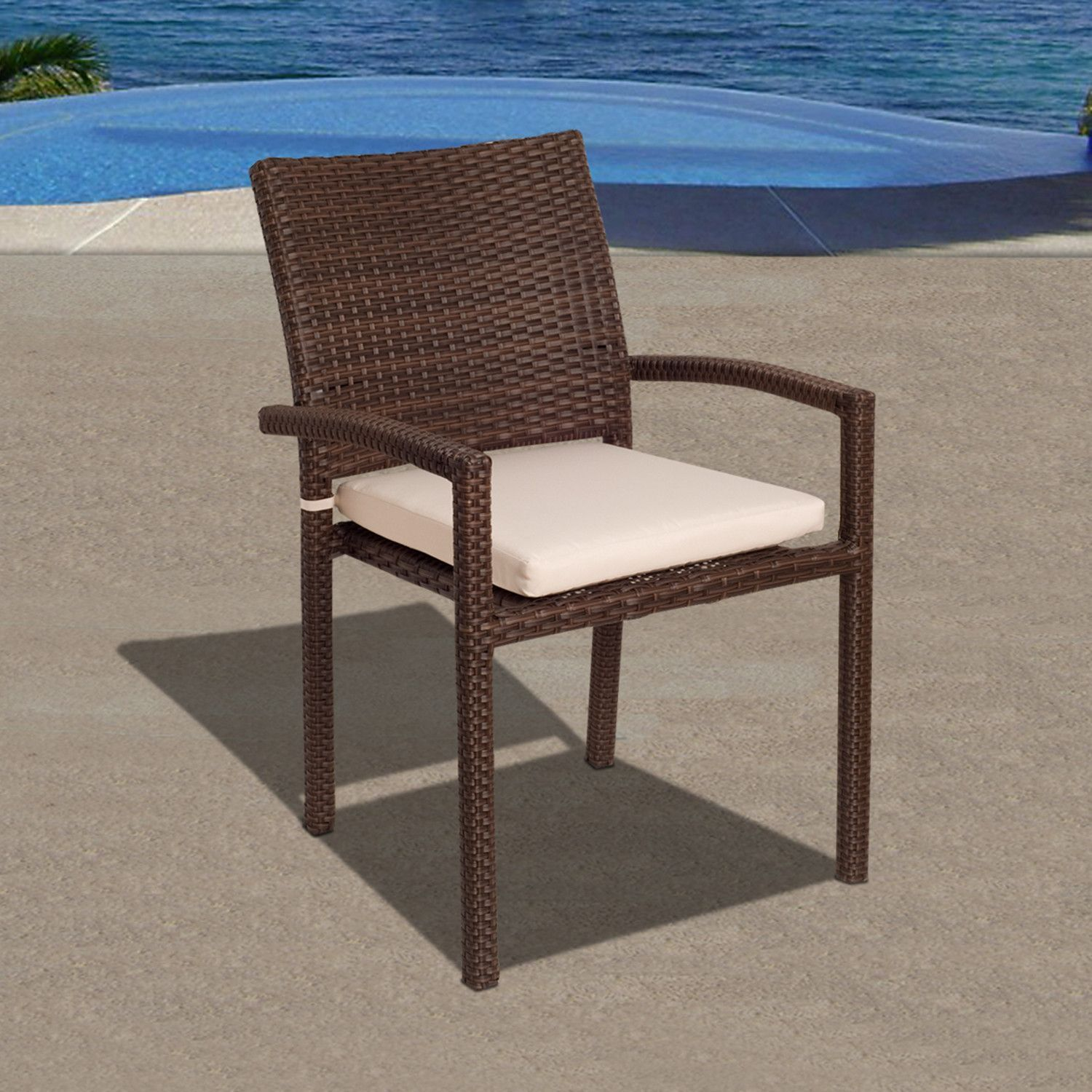 Liberty 4 Piece Wicker Patio Armchair Set with Off-White Cushions