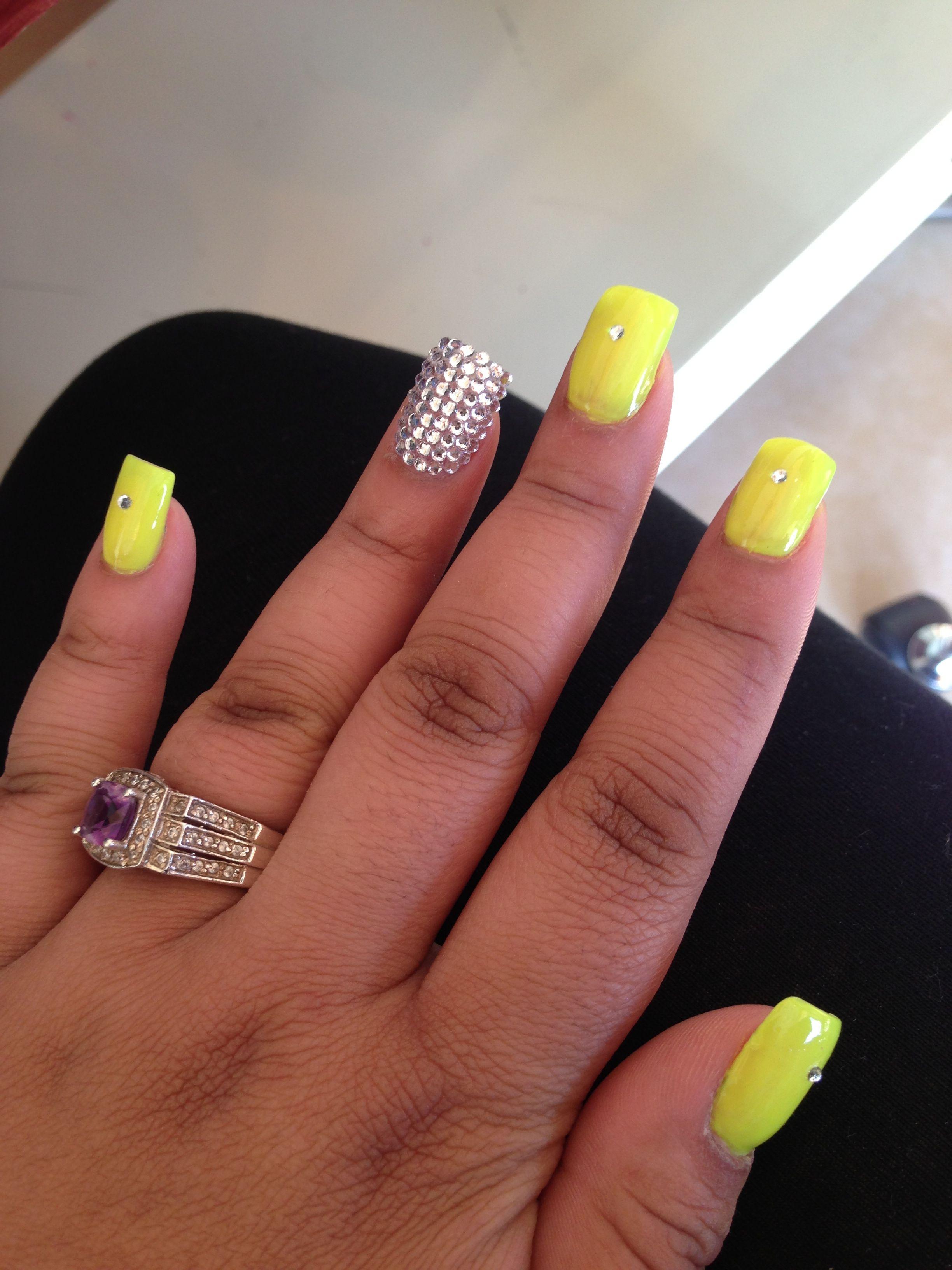 Yellow Nails W Rhinestones Nails Hair And Nails Yellow Nails