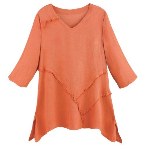 b7a7d449a6 Women's Tunic Top - Relaxed Weekend Linen V-Neck Shirt - Coral - 2X, Size:  XXL, Orange