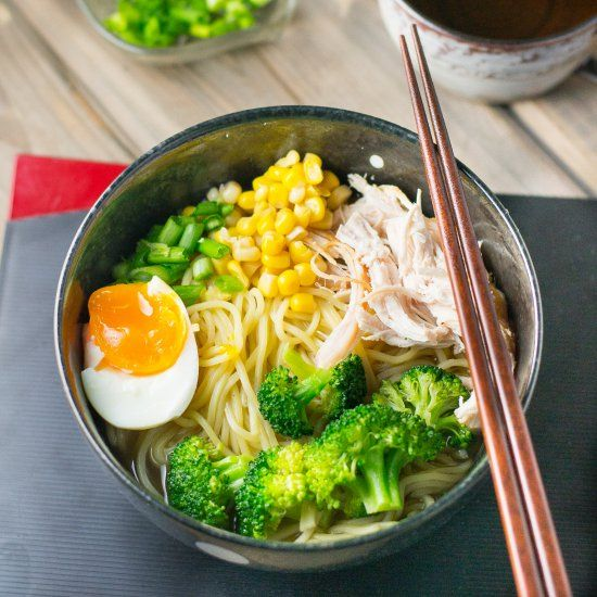 Chicken Ramen - chicken, noodles and an assortment of vegetables in a chicken broth.