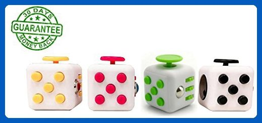 Fidget Cube Toy - 4 packs : White and Black, White and Yellow, White