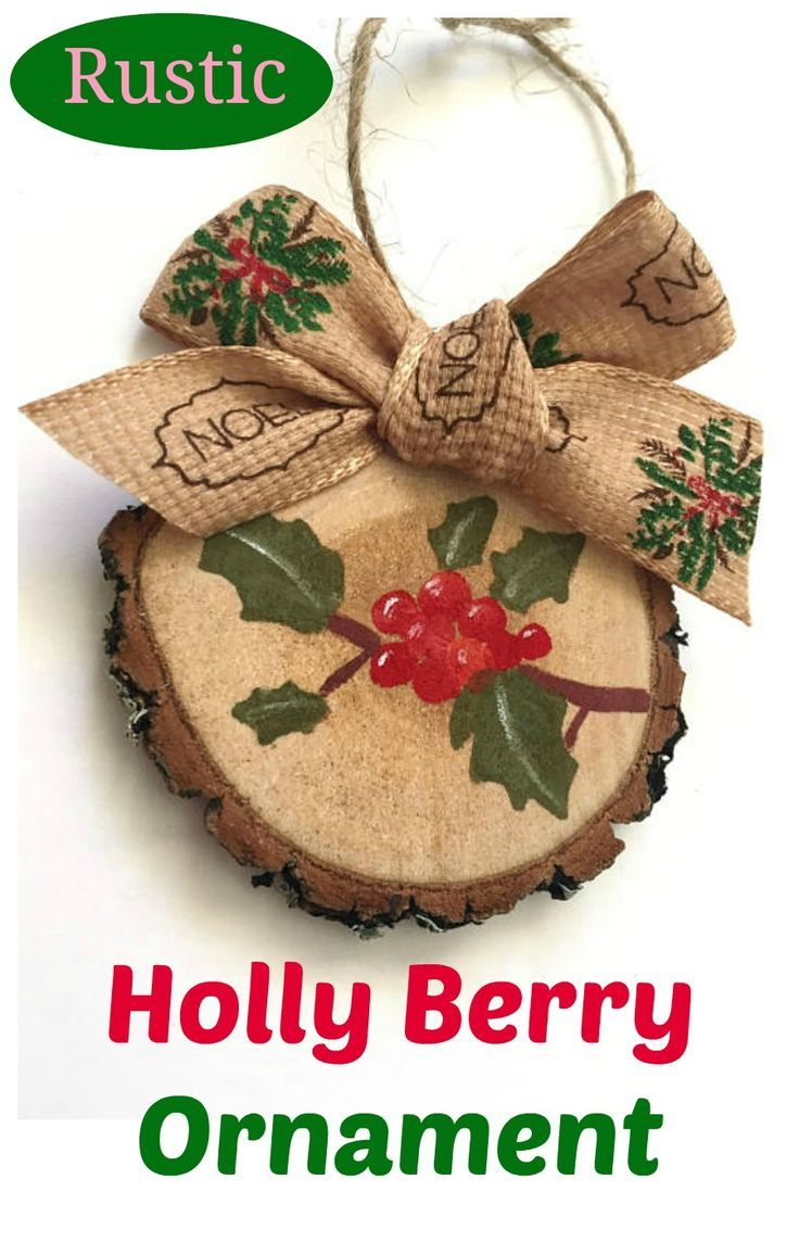 rustic christmas tree ornaments christmas holly decorations rustic wooden christmas decor affiliate - Christmas Holly Decorations