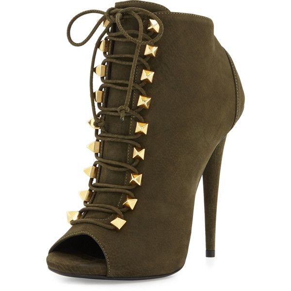 Giuseppe Zanotti Suede Lace-Up High-Heel Bootie found on Polyvore featuring  shoes dad2d5c1fc89