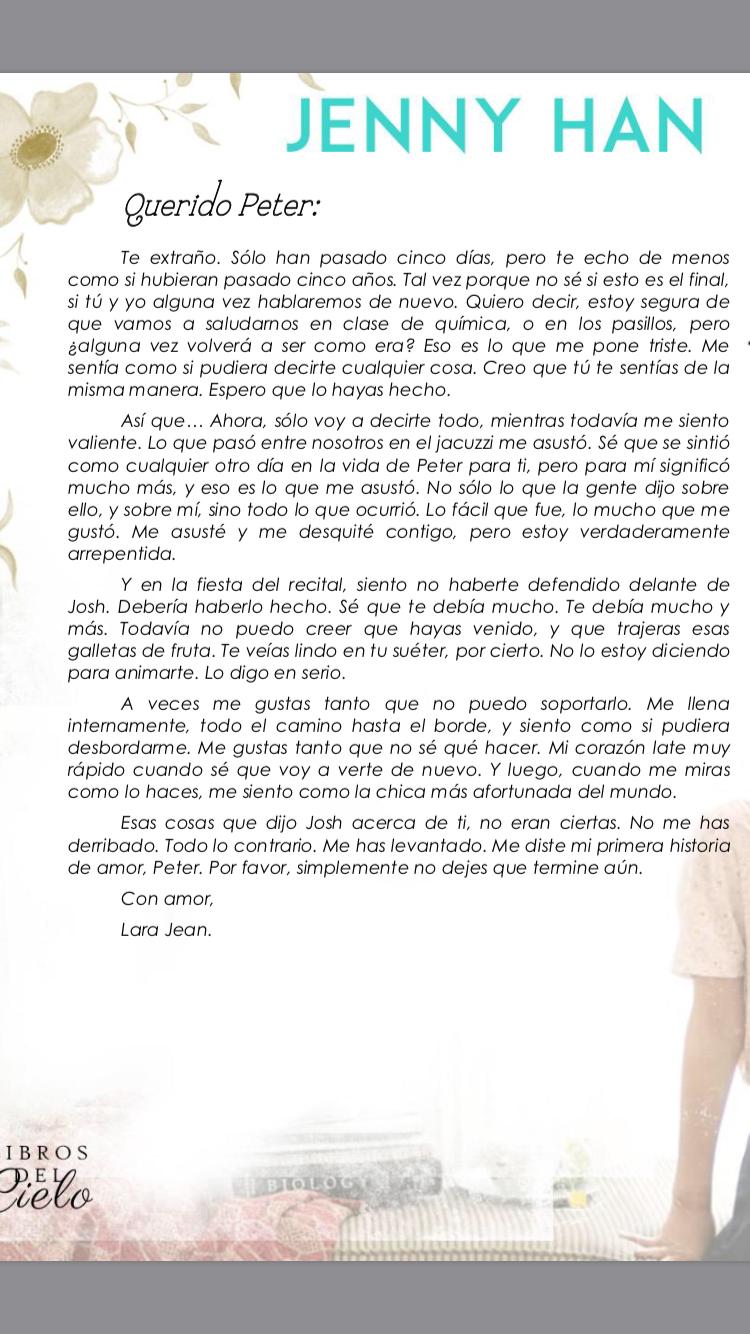 Segunda 2 Carta De Lara Jean A Peter Kavinsky A Todos Los Chicos De Los Que Me Enamore Posdata Pd Aun Te Qu Peliculas De Amor Enamorada Fraces De Libros