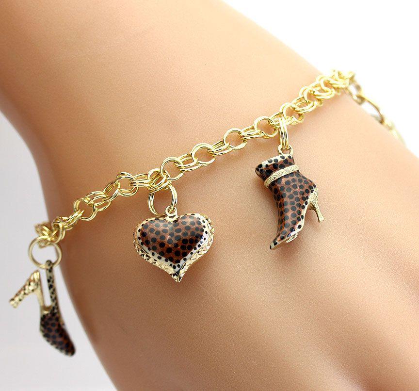 slc 14k gold charm bracelet w five 14k enamel leopard