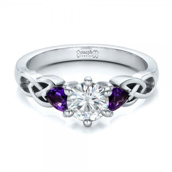 Custom Amethyst And Diamond Engagement Ring