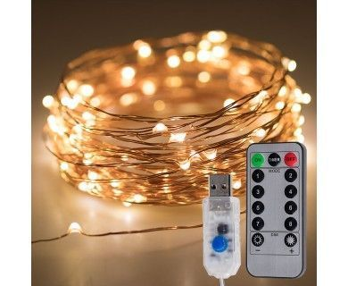 USB LED Fairy Lights w/ Remote Control - Copper Wire - 32ft #fairylights