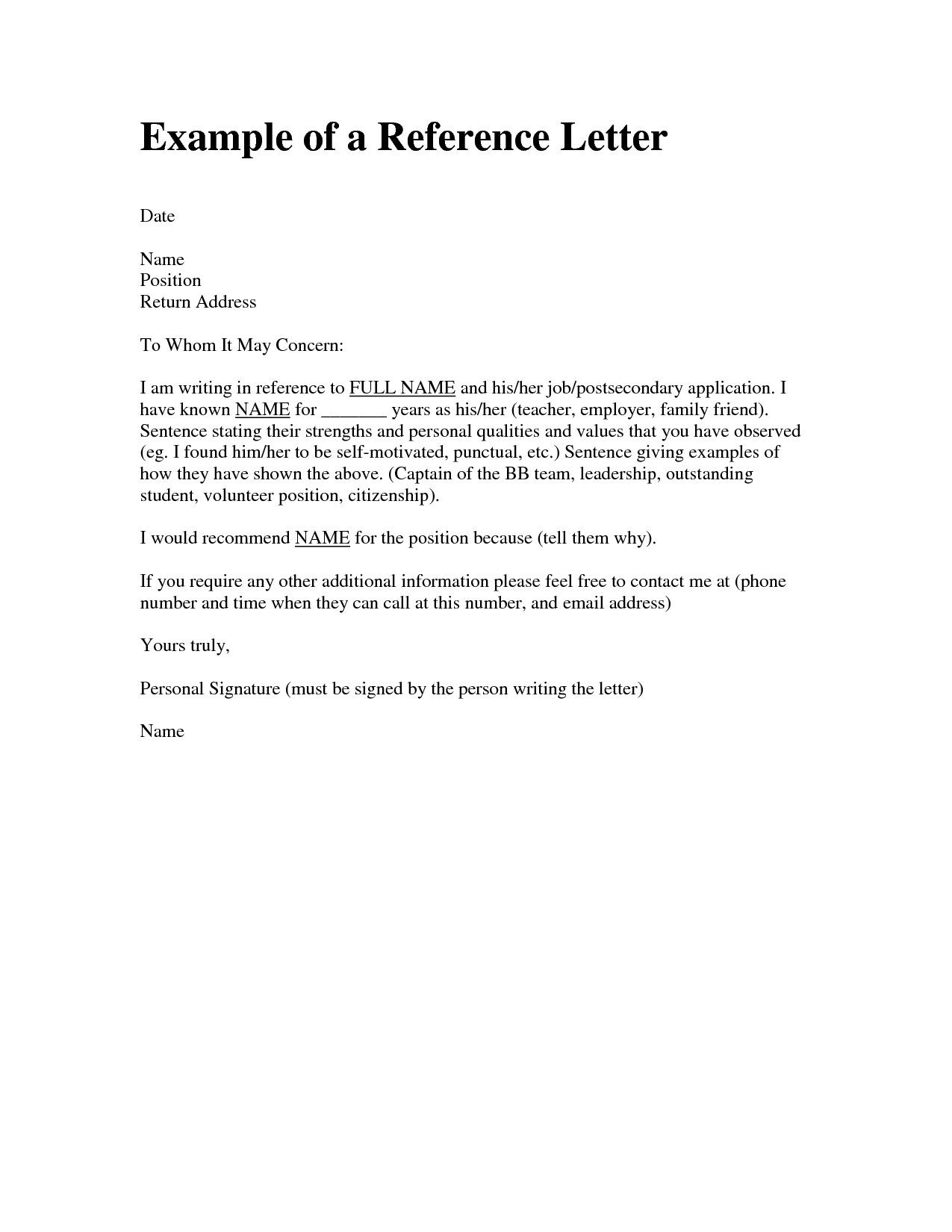 Wonderful Template  Personal Reference Letter For A Job