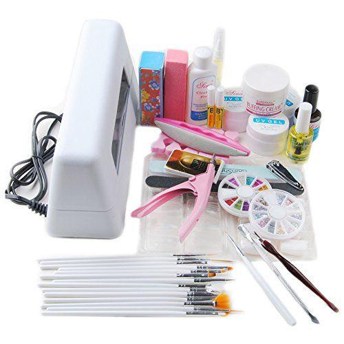 Fashion Zone 9W UV Lamp Dryer Buffer Rhinestone Block Nail Art Tips Set * Click image for more details.