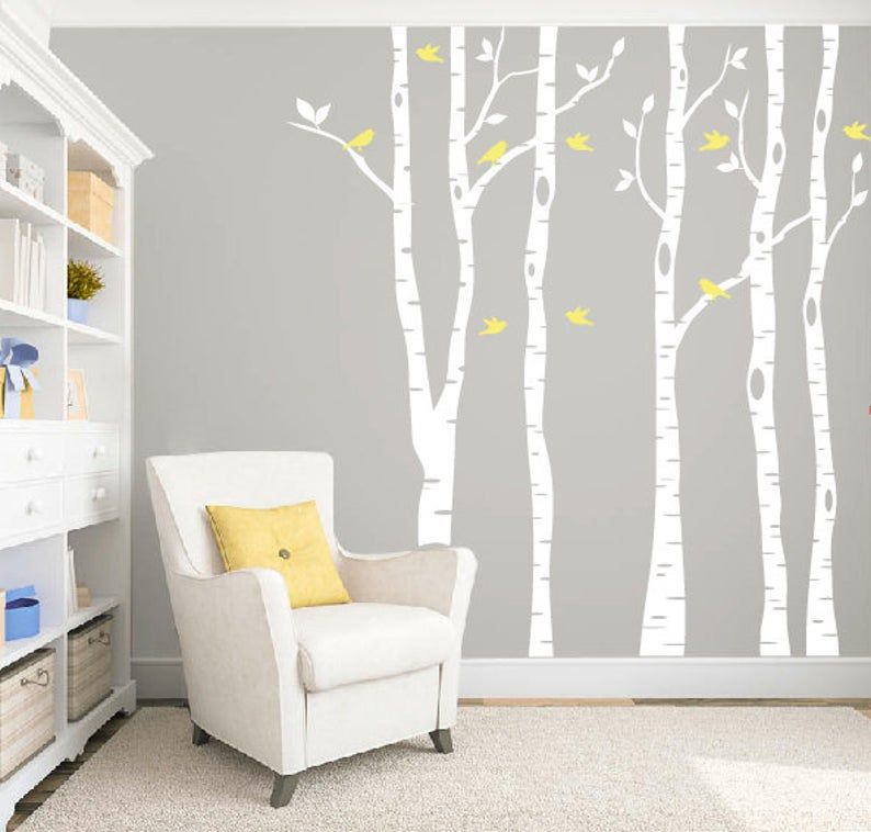 Photo of Birch tree wall decal, Woodland nursery wall decor, Tree decal nursery wall art, Nursery wall decals, Birch tree decal Tree vinyl wall decal