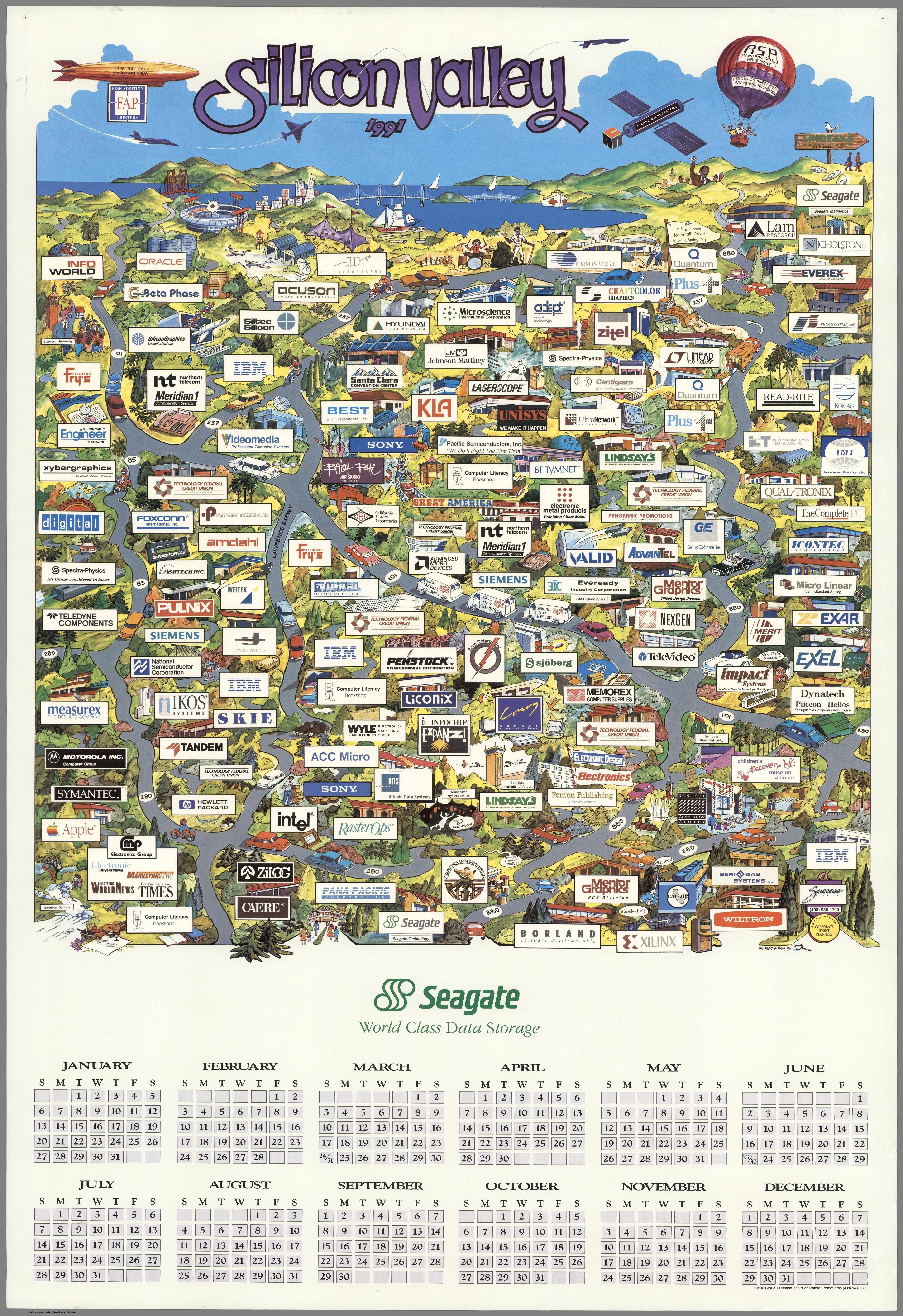 Pictorial map of Silicon Valley in 1991, made by FAP #map #siliconvalley