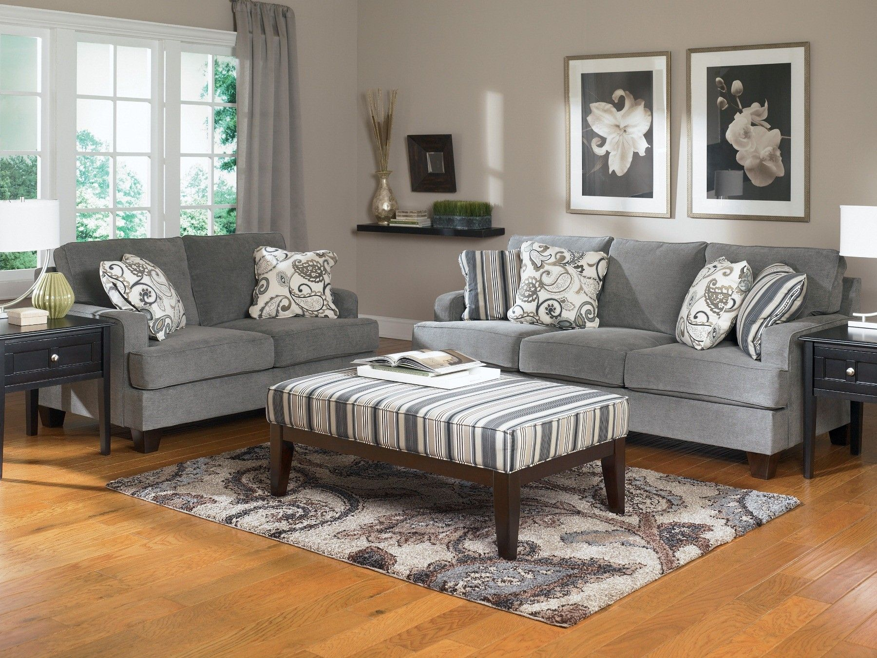 Ashley Furniture Living Room Yvette Steel Living Room Set