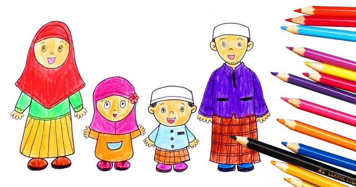 Gambar Kartun Keluarga Kecil Muslim Di  Kartun Animasi